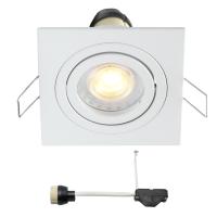 Coblux LED Einbaustrahler | Weiß | Eckig | Warm Weiß | 5 Watt | Dimmbar | Kippbar L2068