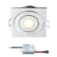 Creelux LED Einbaustrahler | Eckig | Warm Weiß | 3 Watt | Dimmbar | Kippbar LI205012