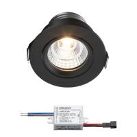 Sharp LED Einbaustrahler Granada | Schwarz | Warm Weiß | 3 Watt | Dimmbar | Kippbar L2250