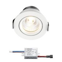 Sharp LED Einbaustrahler Granada | Weiß | Warm Weiß | 3 Watt | Dimmbar | Kippbar L2164